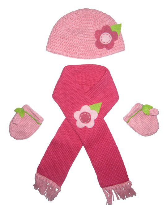 Doll Hat, Scarf, and Mittens Set (Pinks)